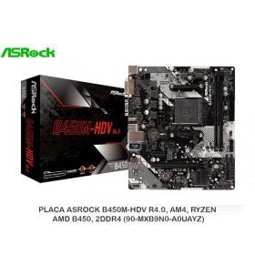 PLACA ASROCK B450M-HDV R4.0, AM4, RYZEN, AMD B450, 2DDR4 (90-MXB9N0-A0UAYZ)