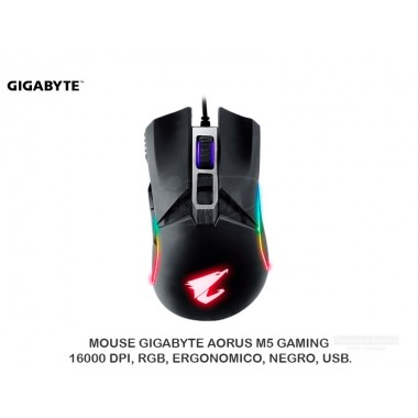 MOUSE GIGABYTE AORUS M5 GAMING, 16000 DPI, RGB, ERGONOMICO, NEGRO, USB.