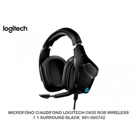 MICROFONO C/AUDIFONO LOGITECH G935 RGB WIRELESS 7.1 SURROUND BLACK  981-000742
