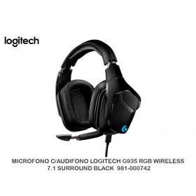 MICROFONO C/AUDIFONO LOGITECH G935 RGB WIRELESS 7.1 SURROUND BLACK  981-000742