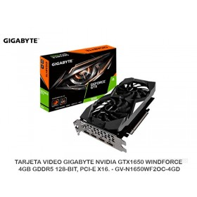 TARJETA VIDEO GIGABYTE NVIDIA GTX1650 WINDFORCE, 4GB GDDR5 128-BIT, PCI-E X16. - GV-N1650WF2OC-4GD