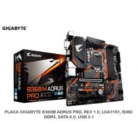 PLACA GIGABYTE B360M AORUS PRO, REV 1.0, LGA1151, B360, DDR4, SATA 6.0, USB 3.1