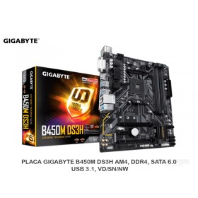 PLACA GIGABYTE B450M DS3H AM4, DDR4, SATA 6.0, USB 3.1, VD/SN/NW