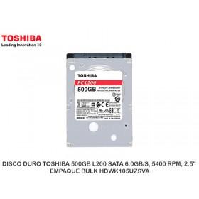 """DISCO DURO TOSHIBA 500GB L200 SATA 6.0GB/S, 5400 RPM, 2.5"""", EMPAQUE BULK HDWK105UZSVA"""