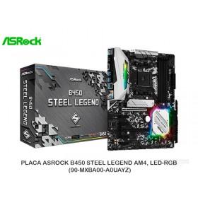 PLACA ASROCK B450 STEEL LEGEND AM4, LED-RGB (90-MXBA00-A0UAYZ)