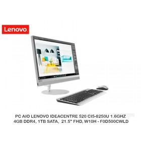 "PC AIO LENOVO IDEACENTRE 520 CI5-8250U 1.6GHZ, 4GB DDR4, 1TB SATA,  21.5"" FHD, W10H - F0D500CWLD"