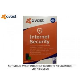 ANTIVIRUS AVAST INTERNET SECURITY 10 USUARIOS LIC. 12 MESES