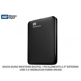 """DISCO DURO WESTERN DIGITAL 1TB ELEMENTS 2.5"""" EXTERNO USB 3.0 (WDBUZG0010BBK-WESN)"""