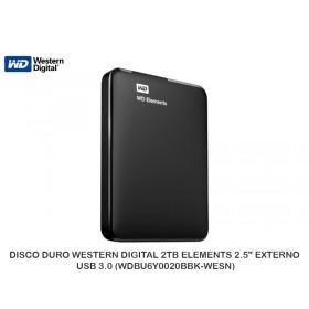 """DISCO DURO WESTERN DIGITAL 2TB ELEMENTS 2.5"""" EXTERNO USB 3.0 (WDBU6Y0020BBK-WESN)"""