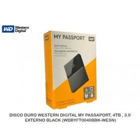 DISCO DURO WESTERN DIGITAL MY PASSAPORT, 4TB , 3.0, EXTERNO BLACK (WDBYFT0040BBK-WESN)