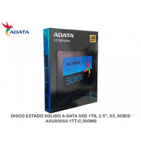 "DISCO ESTADO SOLIDO A-DATA SSD 1TB, 2.5"", S3, 6GB/S, ASU800SS-1TT-C,560MB"