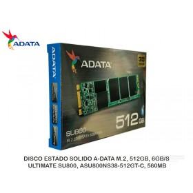 DISCO ESTADO SOLIDO A-DATA M.2, 512GB, 6GB/S, ULTIMATE SU800, ASU800NS38-512GT-C, 560MB