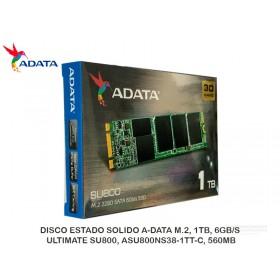 DISCO ESTADO SOLIDO A-DATA M.2, 1TB, 6GB/S, ULTIMATE SU800, ASU800NS38-1TT-C, 560MB