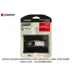DISCO SOLIDO KINGSTON A1000 480GB M.2, 2280, PCIE NVME GEN 3.0 X2. - SA1000M8/480G