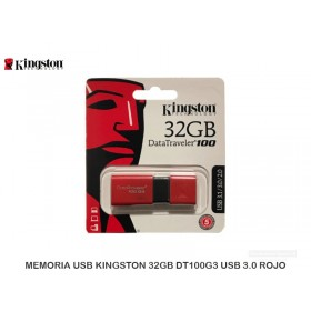 MEMORIA USB KINGSTON 32GB DT100G3 USB 3.0 ROJO