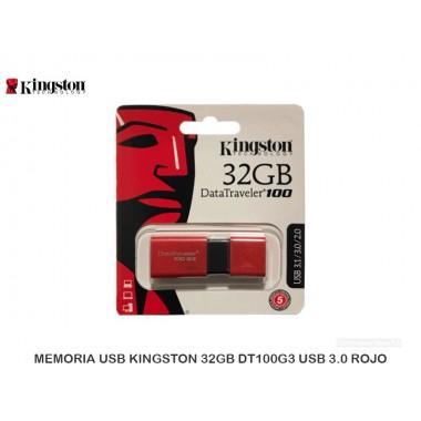 MEMORIA USB KINGSTON 32GB DT100G3 USB 3.0 ROJO