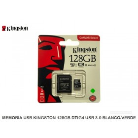 MEMORIA MICROSD KINGSTON 128GB CANVAS SELECT, (U1), CON ADAPTADOR SD SDCS/128GB