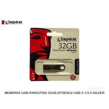 MEMORIA USB KINSGTON 32GB DTSE9G2 USB 3.1/3.0 SILVER