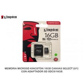 MEMORIA MICROSD KINGSTON 16GB CANVAS SELECT (U1), CON ADAPTADOR SD SDCS/16GB