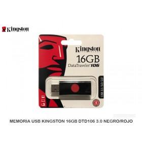 MEMORIA USB KINGSTON 16GB DTD106 3.0 NEGRO/ROJO