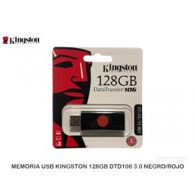 MEMORIA USB KINGSTON 128GB DTD106 3.0 NEGRO/ROJO