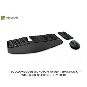 TECLADO+MOUSE MICROSOFT SCULPT ERGONOMIC WRLESS DESKTOP USB L5V-00004