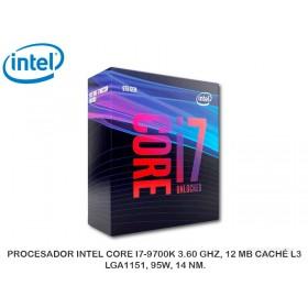 PROCESADOR INTEL CORE I7-9700K 3.60 GHZ, 12 MB CACHÉ L3, LGA1151, 95W, 14 NM.