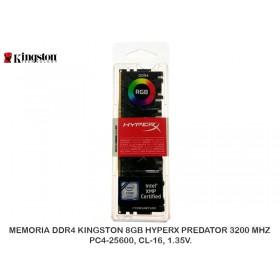 MEMORIA DDR4 KINGSTON 8GB HYPERX PREDATOR 3200 MHZ, PC4-25600, CL-16, 1.35V.