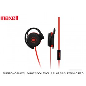 AUDIFONO MAXEL 347862 EC-155 CLIP FLAT CABLE W/MIC RED