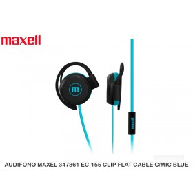 AUDIFONO MAXEL 347861 EC-155 CLIP FLAT CABLE C/MIC BLUE
