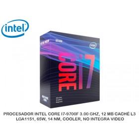 PROCESADOR INTEL CORE I7-9700F 3.00 GHZ, 12 MB CACHÉ L3, LGA1151, 65W, 14 NM, COOLER, NO INTEGRA VIDEO