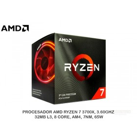 PROCESADOR AMD RYZEN 7 3700X, 3.60GHZ, 32MB L3, 8 CORE, AM4, 7NM, 65W