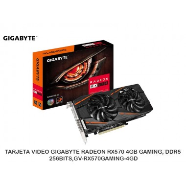TARJETA VIDEO GIGABYTE RADEON RX570 4GB GAMING, DDR5, 256BITS PCIE 3.0 - GV-RX570GAMING-4GD