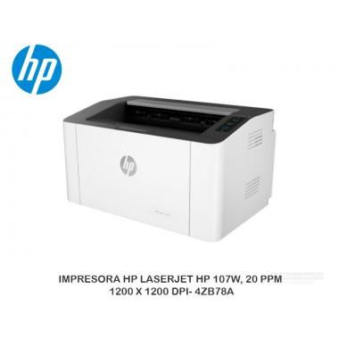 IMPRESORA HP LASERJET 107W, 20 PPM, 1200 X 1200 DPI- 4ZB78A