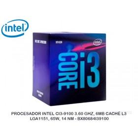 PROCESADOR INTEL CI3-9100 3.60 GHZ, 6MB CACHÉ L3, LGA1151, 65W, 14 NM - BX80684I39100