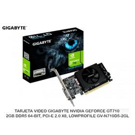 TARJETA VIDEO GIGABYTE NVIDIA GEFORCE GT710 2GB DDR5 64-BIT, PCI-E 2.0 X8, LOWPROFILE GV-N710D5-2GL