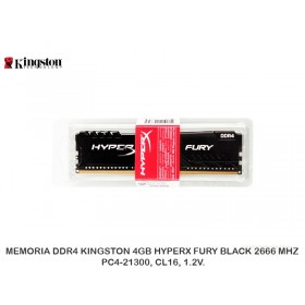 MEMORIA DDR4 KINGSTON 4GB HYPERX FURY BLACK 2666 MHZ PC4-21300, CL16, 1.2V.