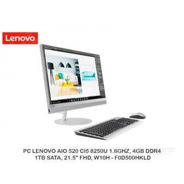 """PC LENOVO AIO 520 CI5 8250U 1.6GHZ, 4GB DDR4, 1TB SATA, 21.5"""" FHD, W10H - F0D500HKLD"""