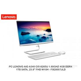 """PC LENOVO AIO A340 CI5-8265U 1.60GHZ 4GB DDR4, 1TB SATA, 23.8"""" FHD W10H - F0E8007JLD"""