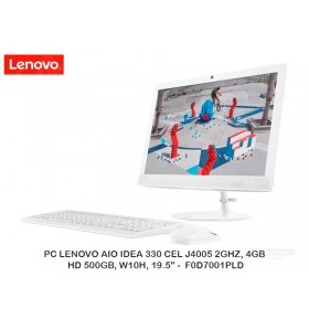 "PC LENOVO AIO IDEA 330 CEL J4005 2GHZ, 4GB, HD 500GB, W10H, 19.5"" - F0D7001PLD"