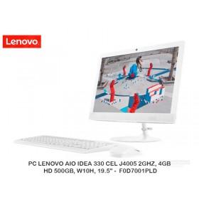 "PC LENOVO AIO IDEA 330 CEL J4005 2GHZ, 4GB, HD 500GB, W10H, 19.5"" -  F0D7001PLD"