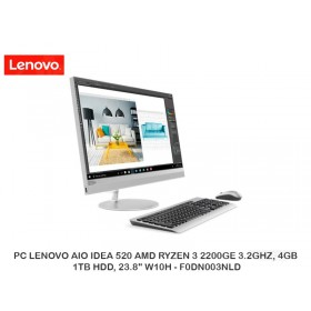 "PC LENOVO AIO IDEA 520 AMD RYZEN 3 2200GE 3.2GHZ, 4GB, 1TB HDD, 23.8"" W10H - F0DN003NLD"