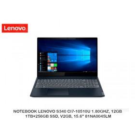 """NOTEBOOK LENOVO S340 CI7-10510U 1.80GHZ, 12GB, 1TB+256GB SSD, V2GB, 15.6"""" 81NA0045LM"""