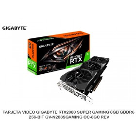 TARJETA VIDEO GIGABYTE RTX2080 SUPER GAMING 8GB GDDR6 256-BIT GV-N208SGAMING OC-8GC REV