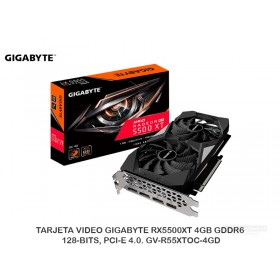 TARJETA VIDEO GIGABYTE RX5500XT 4GB GDDR6, 128-BITS, PCI-E 4.0. GV-R55XTOC-4GD