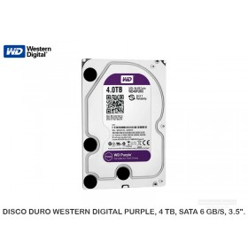 "DISCO DURO WESTERN DIGITAL PURPLE, 4 TB, SATA 6 GB/S, 3.5""."