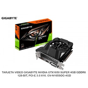 TARJETA VIDEO GIGABYTE NVIDIA GTX1650 SUPER 4GB GDDR6 128-BIT, PCI-E 3.0 X16. GV-N165SOC-4GD