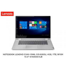 """NOTEBOOK LENOVO C340-15IWL CI5-8265U, 4GB, 1TB, W10H, 15.6"""" 81N50007LM"""