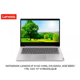 "NOTEBOOK LENOVO IP S145-14IWL CI5-8265U, 8GB DDR4, 1TB, V2G 14"" 81MU00LQLM"