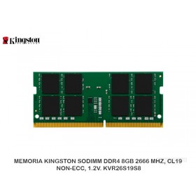 MEMORIA KINGSTON SODIMM DDR4 8GB 2666 MHZ, CL19, NON-ECC, 1.2V. KVR26S19S8
